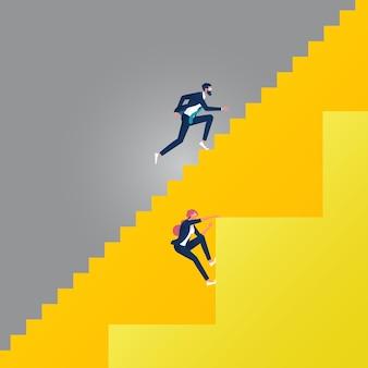 Business gender ungleichheit konzept mit geschäftsmann und geschäftsfrau auf verschiedenen treppen. unterschiedliche karrieremöglichkeiten