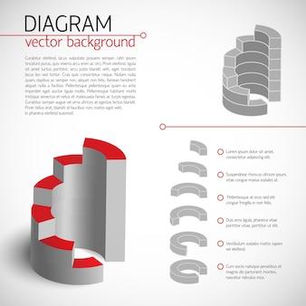 Business graue diagrammvorlage mit textfeldern und beschreibung jedes ausgewählten stücks