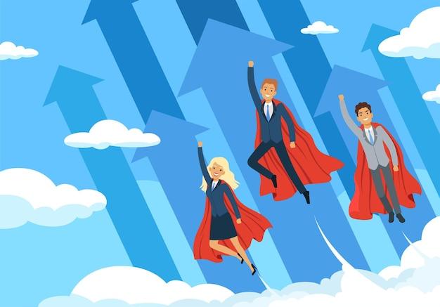 Business-helden-hintergrund. fliegende manager macht superhelden gute teamarbeit, erfolgreiche menschen, die den mitarbeitern helfen, das geschäftskonzept zu vektorisieren. hero business team, erfolg geschäftsmann power illustration