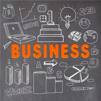 Business-hintergrund mit handgezeichneten weißen objekten