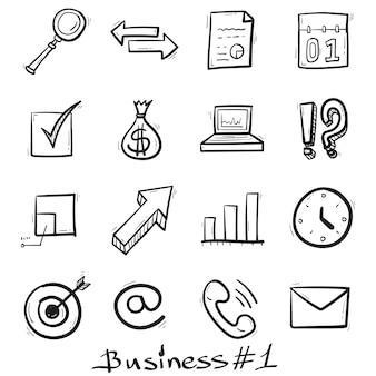 Business icons handgezeichnet im doodle-stil isoliert.