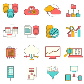 Business icons in flaches design