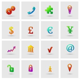 Business-icons set für finanz-marketing isoliert vektor-illustration