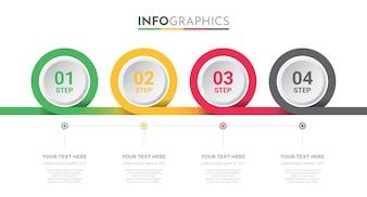 Business Info-Grafik-Vorlage mit 4 Schritten Design.