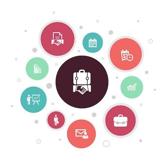 Business infografik 10 schritte blasendesign. geschäftsmann, aktentasche, kalender, diagramm einfache symbole