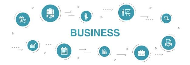 Business infografik 10 schritte kreisdesign. geschäftsmann, aktentasche, kalender, diagramm einfache symbole
