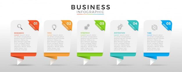 Business infografik design icons 5 optionen oder schritte