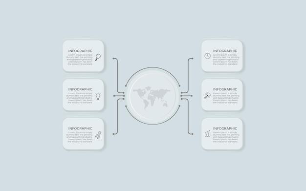 Business infografik design mit 6 optionen oder schritten