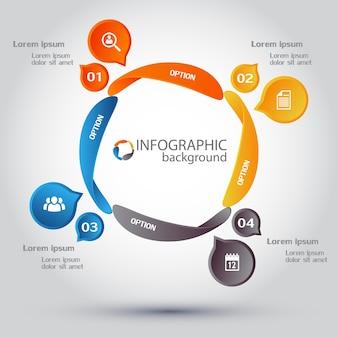 Business-infografik-design-vorlage mit vier optionen und symbolen auf kreisen des bunten zyklusdiagramms