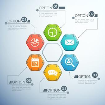 Business-infografik-designkonzept mit sechs optionen und weißen symbolen der bunten sechsecke