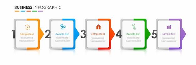 Business-infografik-designvorlage mit 5 optionsschritten oder -prozessen