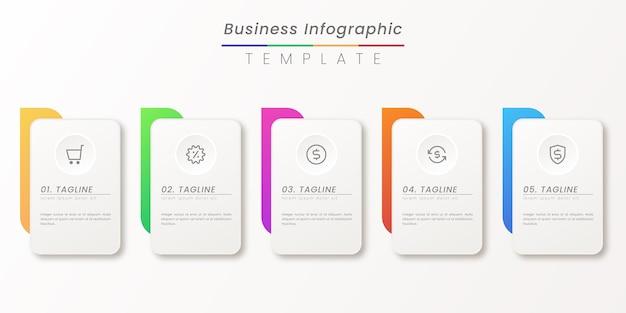 Business-infografik-dünnlinienprozess mit quadratischem und kreisförmigem vorlagendesign mit symbolen und attraktiver farbe