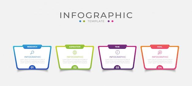 Business-infografik-element mit 4 optionen, schritten, nummernvorlagen-design
