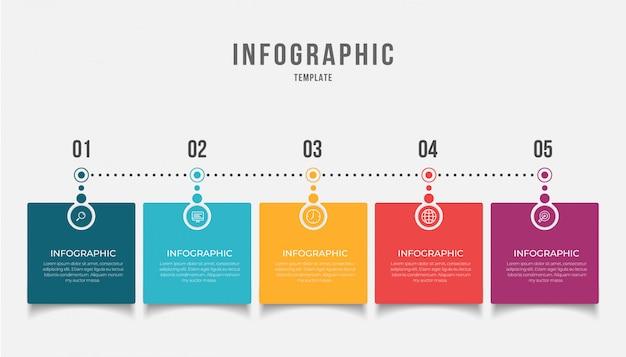 Business-infografik-element mit 5 optionen