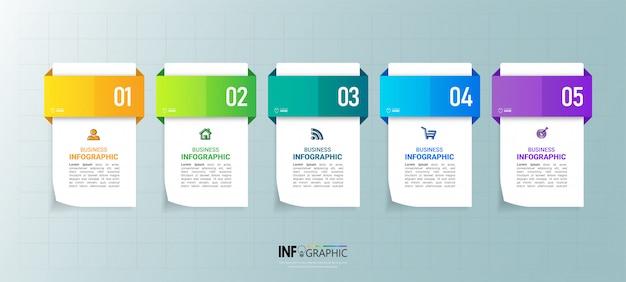 Business-infografik-element mit 5 optionen.
