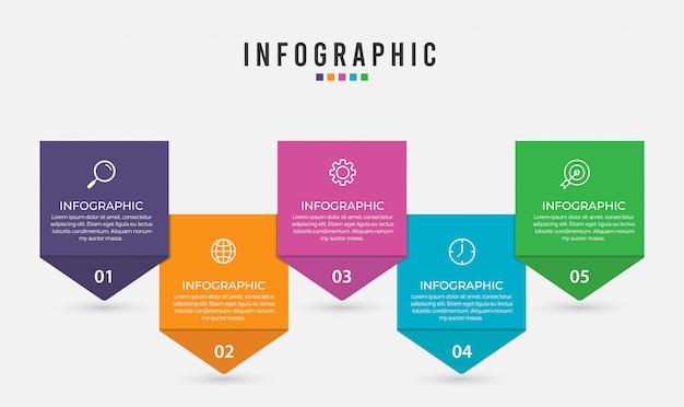 Business-infografik-element mit optionen, schritten