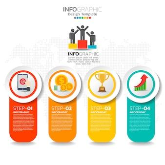 Business-infografik-elemente mit 4 optionen oder schritten