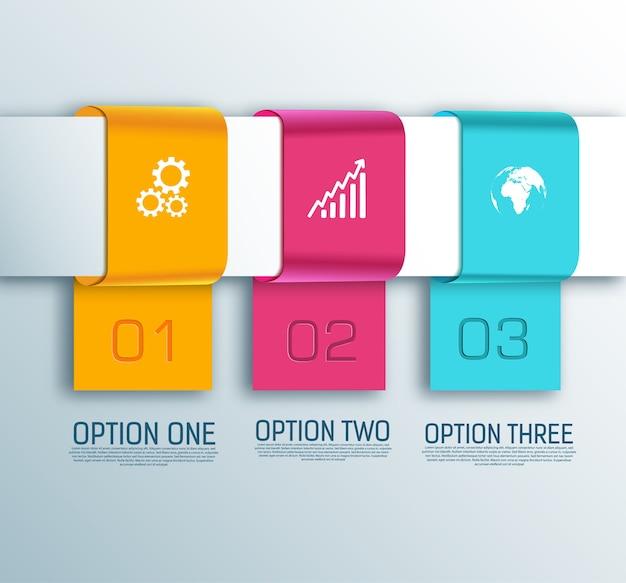 Business-infografik-konzept mit drei optionen und weißen symbolen isoliert