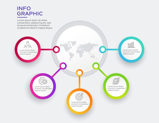 Business-infografik mit 5 optionen