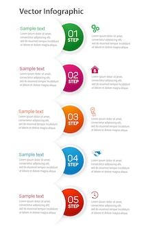 Business-infografik mit 5 schritten, optionen, teilen oder prozessen