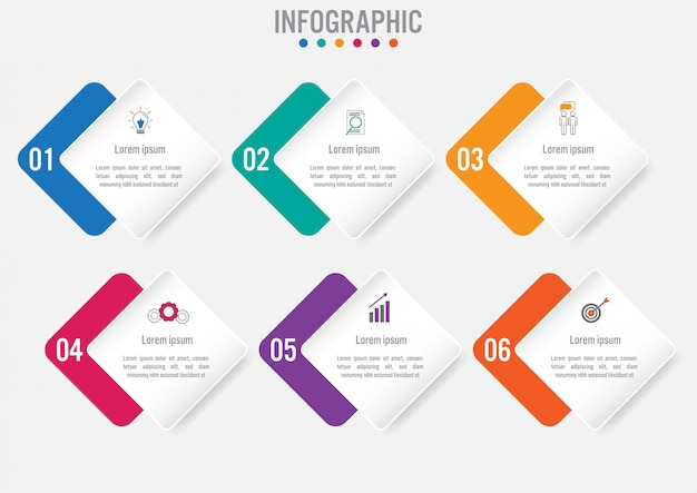 Business-infografik mit 6 optionen