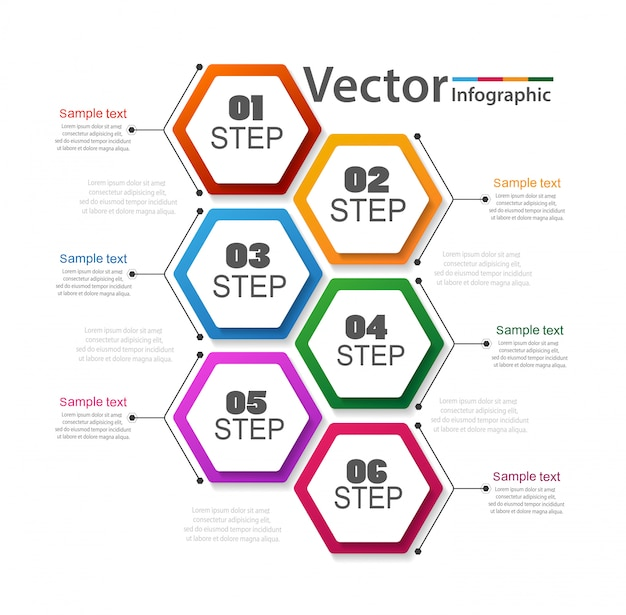 Business-infografik mit 6 schritten