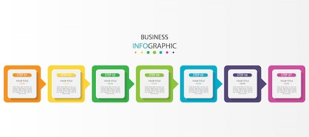 Business-infografik mit 7 schritten oder optionen