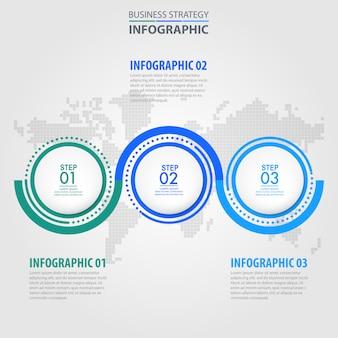 Business infografik mit drei schritten