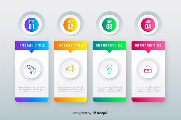 Business-infografik mit farbverlauf