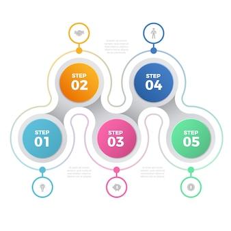 Business-infografik mit fünf schritten.