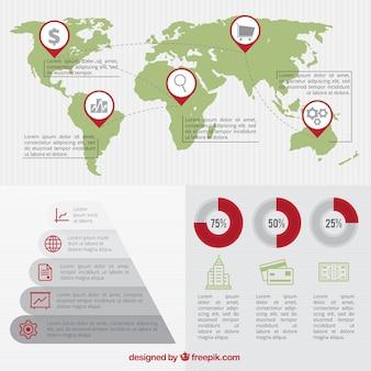Business-infografik mit karte