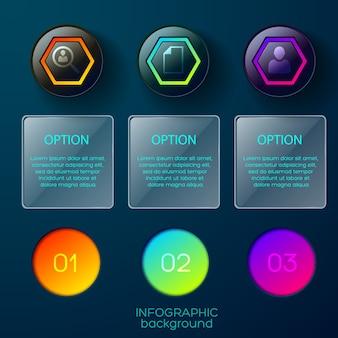 Business-infografik mit neun objekten farbverlauf farbige symbole piktogramme und quadratische rahmen mit bearbeitbarem text