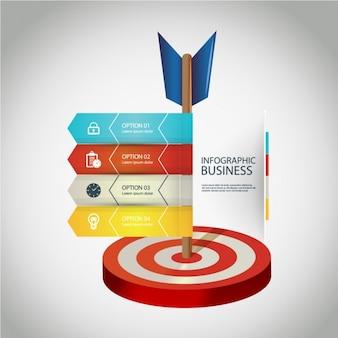 Business-infografik mit vier optionen und eine dartscheibe