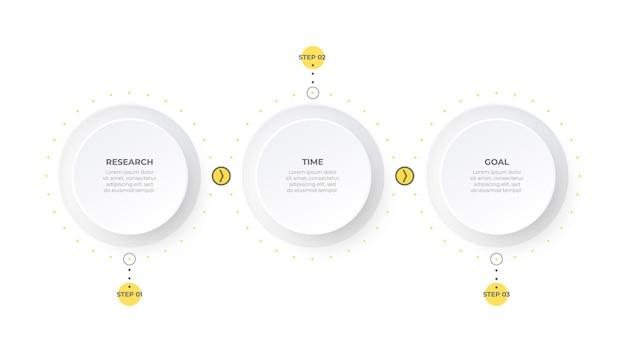 Business-infografik modernes design mit kreisen und 3 optionen