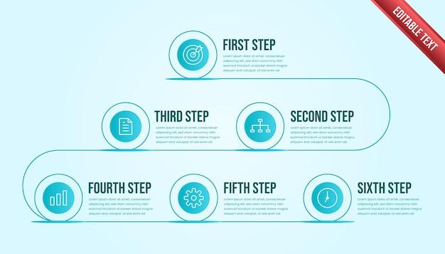 Business-infografik sechs schritte. moderne timeline-infografik-vorlage mit tosca- oder blauem farbthema.