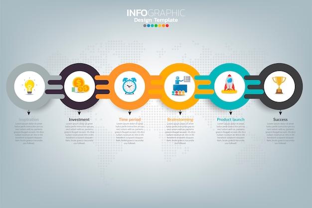 Business infografik timeline, wie sie mit optionen und symbolen erfolgreich sein können.