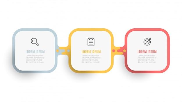 Business-infografik-vorlage. abstraktes quadratisches etikettendesign mit marketingikonen