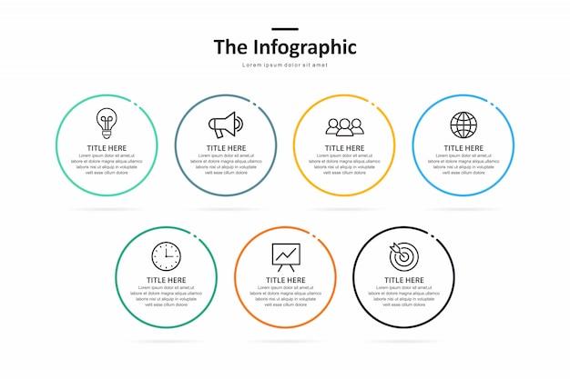 Business-infografik-vorlage, dünne linie und flaches design mit 7 option oder schritt