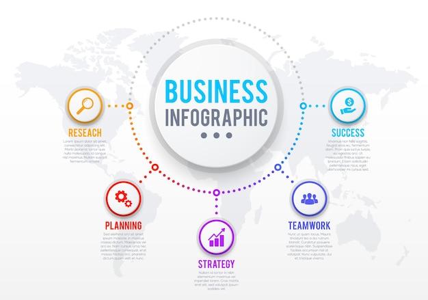 Business-infografik-vorlage, erfolgsstrategie oder aufgabenmanagementplan. kreissymbole mit forschungs-, planungs- und teamwork-vektorpiktogramm, weltkartenhintergrund. schema oder diagramm von geschäftsprozessen