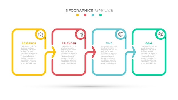 Business-infografik-vorlage kreative gestaltungselemente mit pfeilen und symbolen