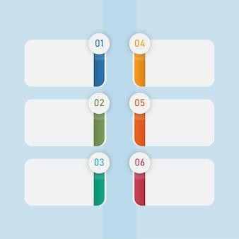 Business-infografik-vorlage-layout mit sechs optionen und textfreiraum auf blauem hintergrund.