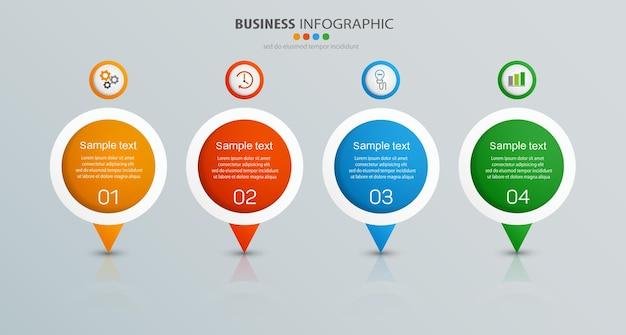 Business-infografik-vorlage mit 4 optionen