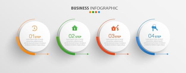Business-infografik-vorlage mit 4 schritten