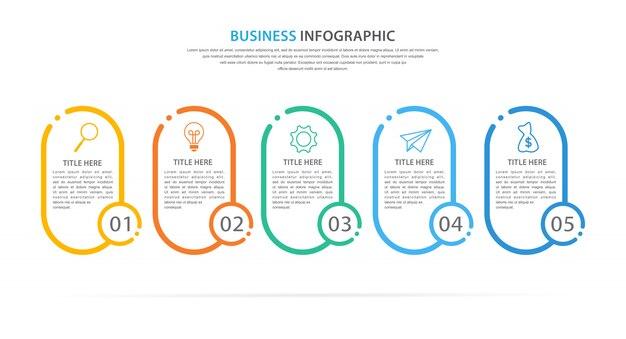 Business-infografik-vorlage mit 5 option oder schritt