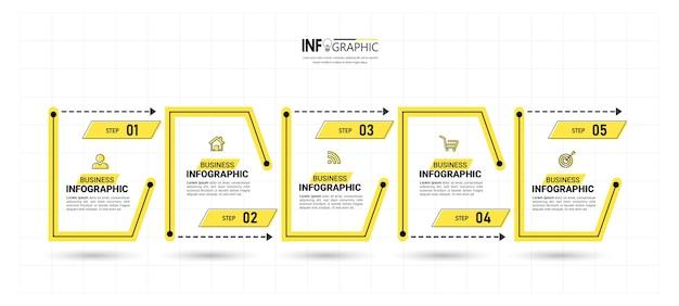Business infografik vorlage mit 5 schritten