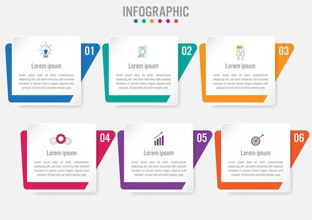 Business-infografik-vorlage mit 6 optionen