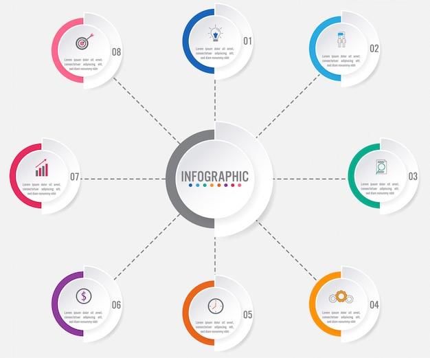 Business-infografik-vorlage mit 8 optionen
