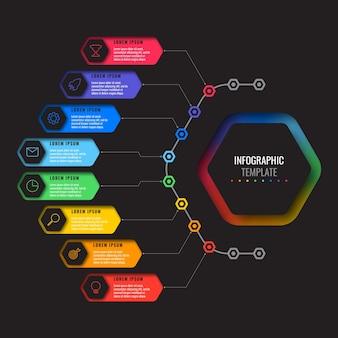 Business-infografik-vorlage mit acht realistischen sechseckigen elementen mit dünnen linienikonen auf schwarzem hintergrund. modernes diagramm mit geometrischen löchern in papier. visualisierung für präsentationen
