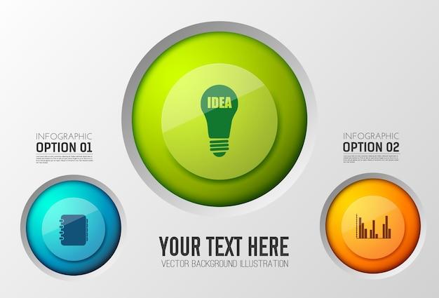 Business-infografik-vorlage mit bunten runden knöpfen und symbolen