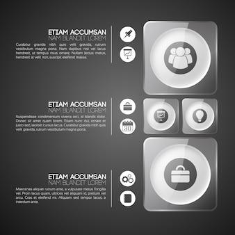 Business infografik vorlage mit drei schritten